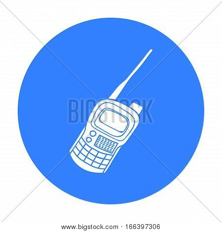 Handheld transceiver icon in outline design isolated on white background. Paintball symbol stock vector illustration. - stock vector