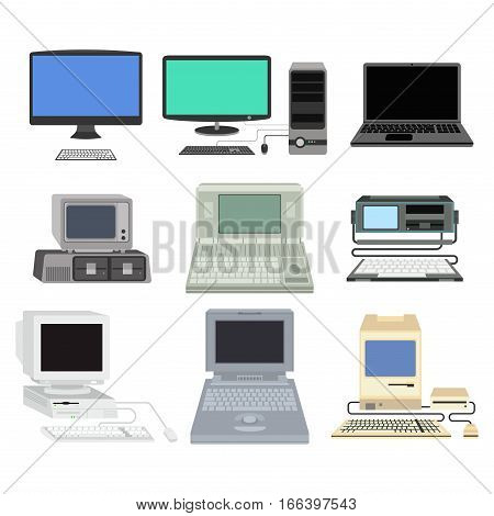Computer technology vector isolated display. Telecommunication equipment metal pc monitor frame modern office network.