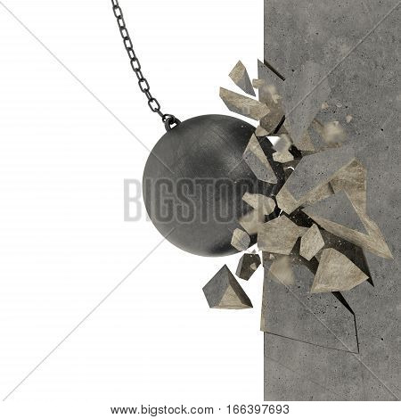 Wall of a building demolished and broken by a ball of steel. mixed media