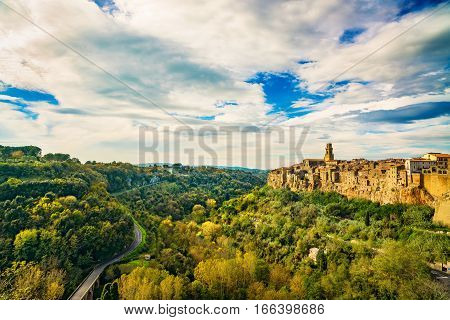Tuscany Pitigliano medieval village on tuff rocky hill. Panorama landscape. Italy Europe.