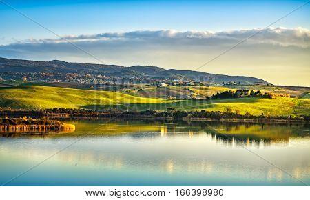 Tuscany Santa Luce lake panorama on sunset Pisa Italy Europe