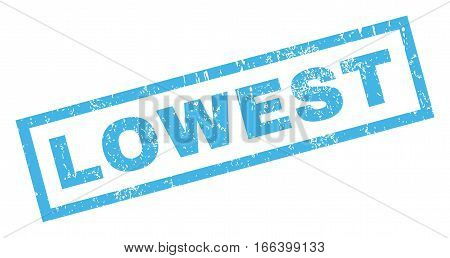 Lowest text rubber seal stamp watermark. Caption inside rectangular shape with grunge design and dirty texture. Inclined vector blue ink emblem on a white background.