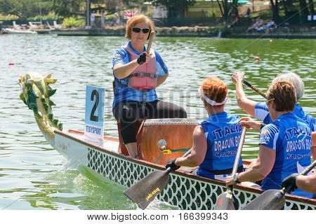 Rome Italy - July 30 2016: Dragon boat crews compete at the european championships held in Italy in 2016 summer the Italian crew