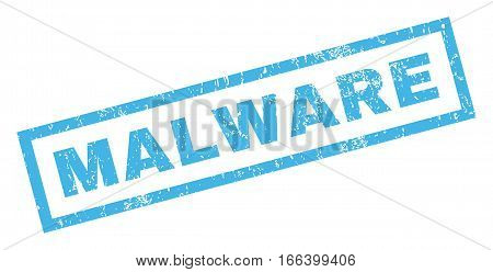 Malware text rubber seal stamp watermark. Caption inside rectangular shape with grunge design and dirty texture. Inclined vector blue ink emblem on a white background.