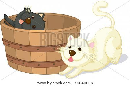 illustration of cats sitting in a basket