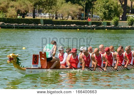 Rome Italy - July 30 2016: Dragon boat crews compete at the european championships held in Italy in 2016 summer Hungary crew