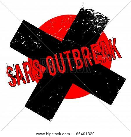 Sars Outbreak rubber stamp. Grunge design with dust scratches. Effects can be easily removed for a clean, crisp look. Color is easily changed.