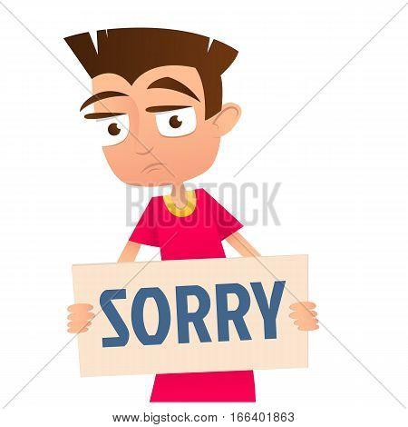 Sad boy holding a sign Sorry. Vector
