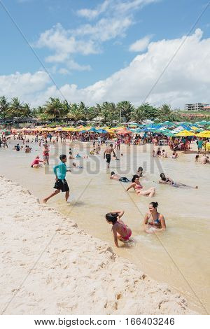 Pitimbu, Paraiba, Brazil - January 15, 2017 - Praia Bela, Tourist Attraction In Brazil Famous For Th