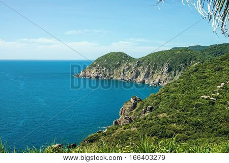 panorama of rocky coast of the South China sea from a height PHU YEN VIETNAM