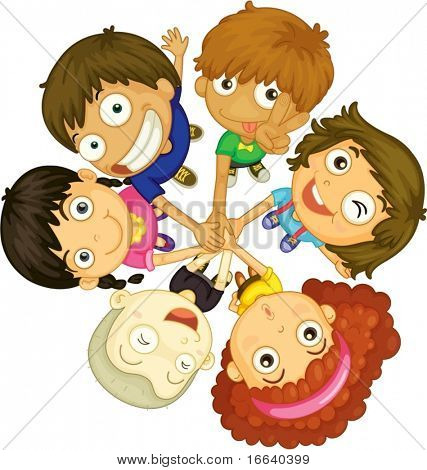 illustration of kids faces on white background