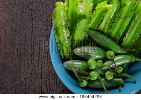 Nged Bean And Pea Eggplant In Bowl