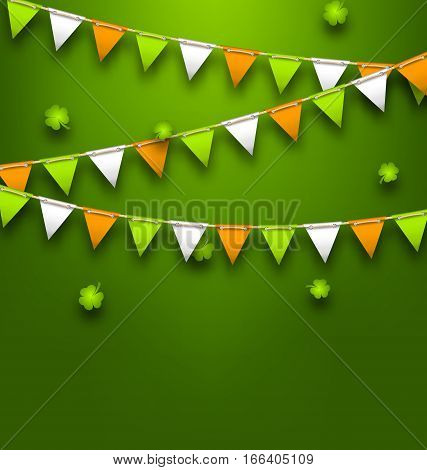 Illustration Bunting Pennants in Irish Colors and Clovers for St. Patrick s Day - Vector