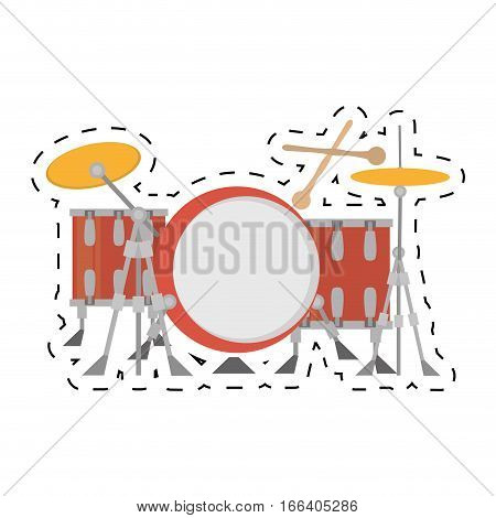 drum kit precussion musical dotted line vector illustration eps 10