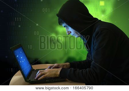 Hacker With Laptop Initiating Cyber Attack