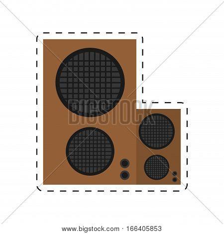speaker baffle audio music dotted line vector illustration eps 10