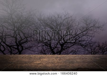 spooky forest with wooden table in night halloween background halloween concept