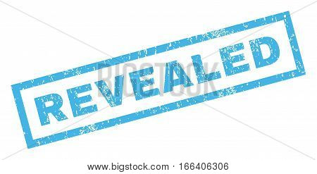 Revealed text rubber seal stamp watermark. Caption inside rectangular banner with grunge design and dust texture. Inclined vector blue ink sign on a white background.
