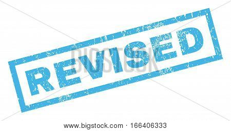 Revised text rubber seal stamp watermark. Tag inside rectangular shape with grunge design and dirty texture. Inclined vector blue ink sign on a white background.