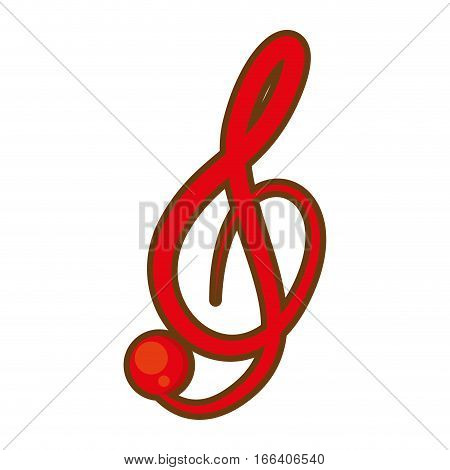cartoon treble clef musical paper icon vector illustration eps 10