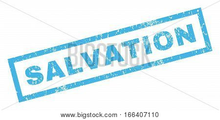 Salvation text rubber seal stamp watermark. Caption inside rectangular banner with grunge design and dirty texture. Inclined vector blue ink sticker on a white background.