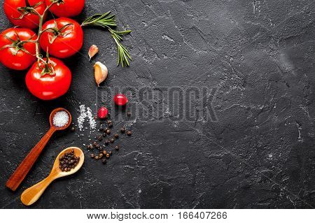 concept cook work on dark background top view mock up.
