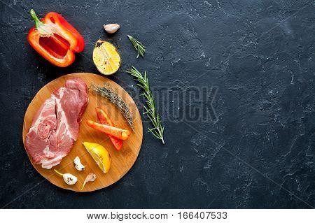concept cooking steak on dark background top view mock up.