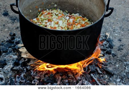 Vegetable Soup Cooking In A Caldron