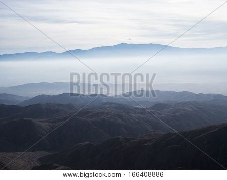 Mountains up in a clouds, Joshua Tree National Park.
