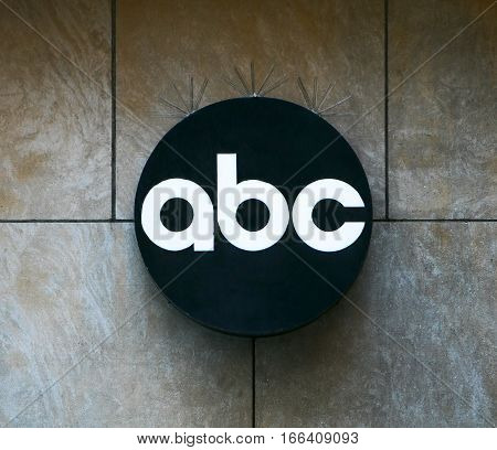 New York, June 25, 2016: A logo of the American Broadcasting Company is hanging outside one of the ABC's buildings on West 67th street in New York City.