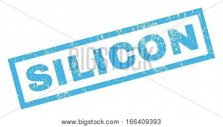 Silicon text rubber seal stamp watermark. Caption inside rectangular shape with grunge design and dust texture. Inclined vector blue ink emblem on a white background.