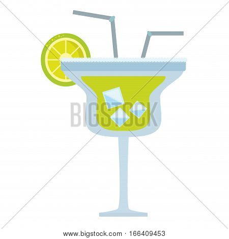 alcoholic cocktail popular bar lemon straw vector illustration eps 10