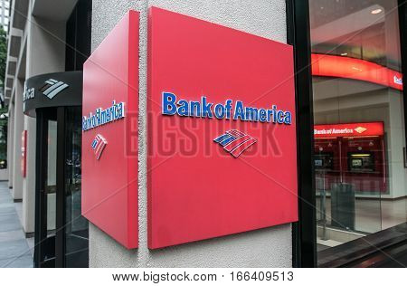 New York, June 27, 2016: Bank of America logo near the entrance of one of their branches.