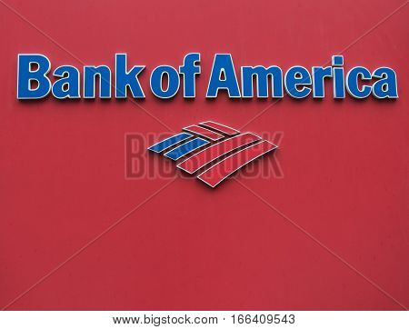 New York, June 27, 2016: A closeup of a Bank of America logo.