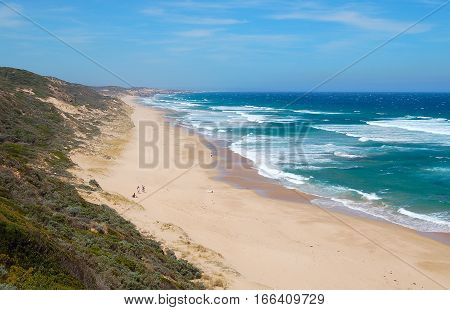 Sandy beach and waves at the London Bridge on the Mornington Peninsula in Victoria, Australia