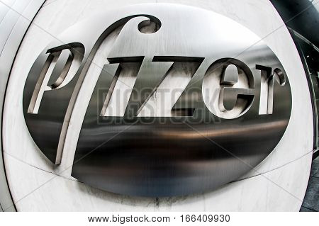 New York, September 26, 2016: Pfizer sign on the exterior wall of their headquarters in Manhattan.
