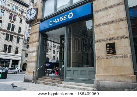 New York, September 28, 2016: A retail Chase bank location in Manhattan.