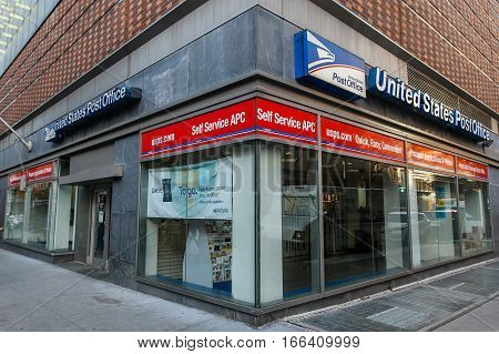 New York November 23 2016: A United States Post Office branch in New York City.