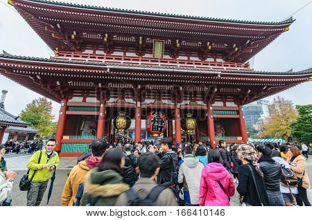 Tokyo Japan - November 19 2016 : The Senso-ji Temple in Asakusa Tokyo Japan . The Senso-ji Temple in Asakusa is the most famous temple in Tokyo .