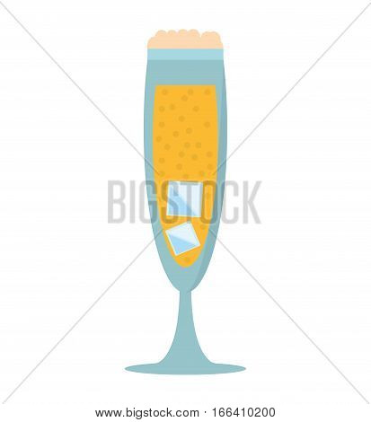 glass cup champagne bubbles ice vector illustration eps 10