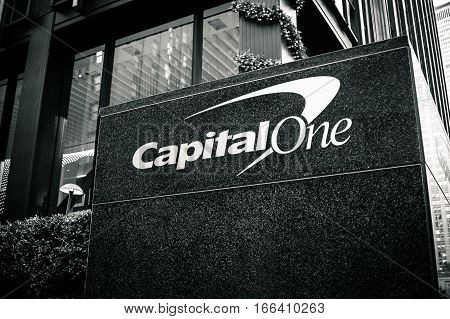 New York December 1 2016: Capital One corporate logo in front of their office location on Park Avenue.