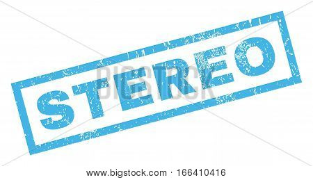 Stereo text rubber seal stamp watermark. Tag inside rectangular shape with grunge design and unclean texture. Inclined vector blue ink emblem on a white background.