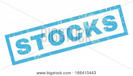 Stocks text rubber seal stamp watermark. Tag inside rectangular shape with grunge design and unclean texture. Inclined vector blue ink emblem on a white background.