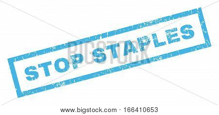 Stop Staples text rubber seal stamp watermark. Tag inside rectangular banner with grunge design and unclean texture. Inclined vector blue ink sign on a white background.
