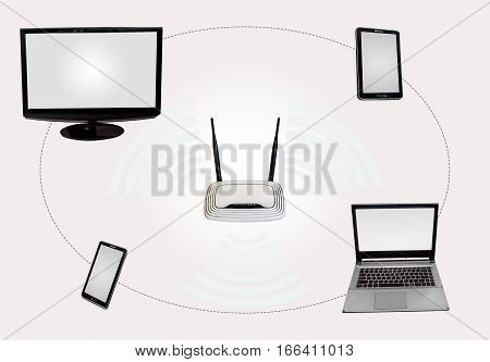Wireless Internet connectivity (WiFi) hotspot with router desktop monitor laptop tab smart phone isolated in white.