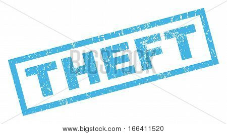 Theft text rubber seal stamp watermark. Tag inside rectangular banner with grunge design and scratched texture. Inclined vector blue ink sticker on a white background.