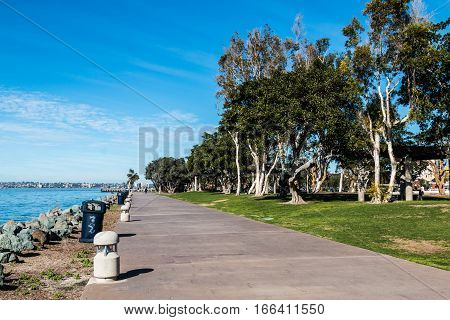 Bayside walkway through Embarcadero Marina Park North in San Diego, California.