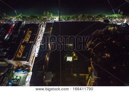 Night Of Pattaya City From The Height Of Bird Flight.