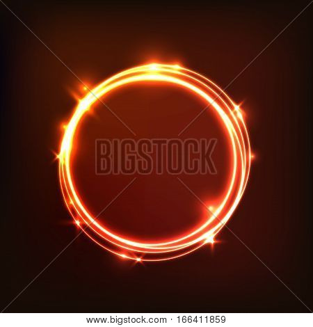 Abstract glowing orange background with circles, stock vector
