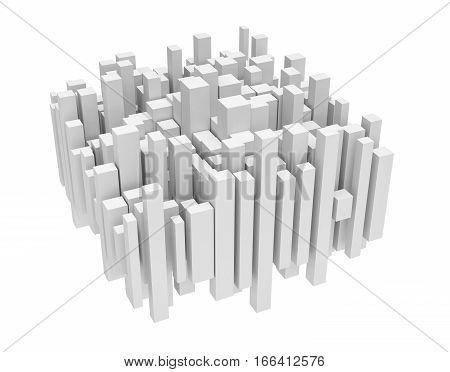 3d rendering of white uneven vertical columns of different sizes on white background. Abstract forms. Design and architecture. Interconnected structure.